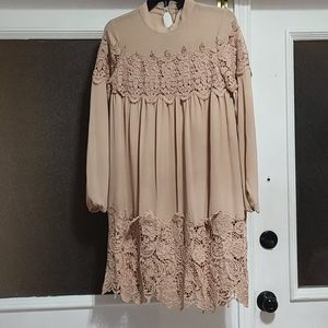 Asos Beige lace long sleeve dress.